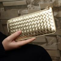 201808240654828皮钱包女长款新款欧美时尚羊皮编织钱夹休闲薄款多卡位皮夹