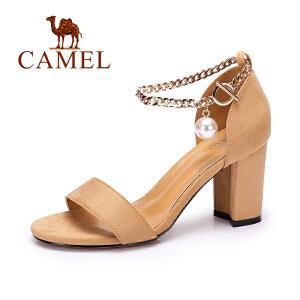 Camel/骆驼女鞋 夏季新品休闲百搭凉鞋露趾金属绊带高跟凉鞋
