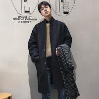 冬季气质纯色落肩毛呢大衣男士青年潮流韩版单排扣中长款呢子外套