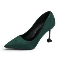 大东同款红色婚鞋女细跟新款尖头鞋时尚高跟鞋中跟单鞋浅口猫跟女鞋子