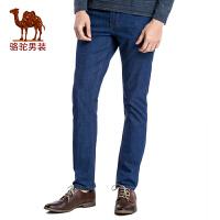 骆驼男装 新品男士商务休闲薄款中腰长裤子直筒牛仔裤男