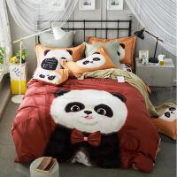【人气】黑白熊猫全棉超柔生态磨毛四件套纯棉床单被套床上用品1.5米1.8m 开心盼盼