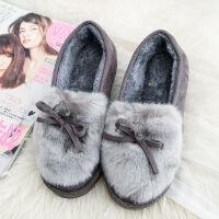 2019秋冬季新款短靴兔耳朵毛毛鞋平底女鞋厚底加绒棉鞋可爱雪地靴