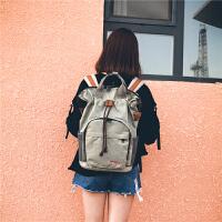 韩版背包女个性百搭学院风休闲包时尚潮流大容量双肩包男士旅行包 灰+棕色 ww8228