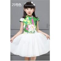 蓬蓬纱裙公主裙小女孩裙子夏季新款女童旗袍连衣裙复古中国风