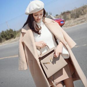 谜秀 冬装新款韩版毛呢外套大衣中长款ulzzang呢子大衣女装潮