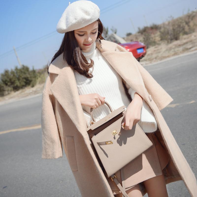 谜秀 冬装新款韩版毛呢外套大衣中长款ulzzang呢子大衣女装潮中长款长袖呢子大衣