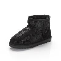 舞玛女童雪地靴冬季加绒保暖短靴宝宝冬靴棉鞋2017新款加厚棉靴子
