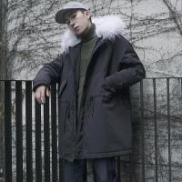 冬季腰部抽绳大毛领加厚保暖棉衣男潮韩版连帽中长款棉袄冬天外套
