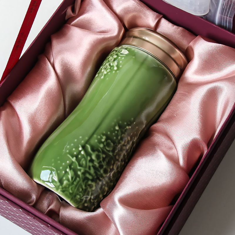 乾唐轩活瓷杯大梅花随身杯单层475ml 时尚礼品带盖杯子水杯