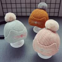 秋冬儿童宝宝毛线帽子男童毛球帽针织帽女童套头帽5个月-2岁保暖