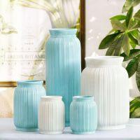 【直降包邮 不能再低了】祥然 经典现代白瓷流线蓝色陶瓷花瓶 家居装饰摆件工艺款