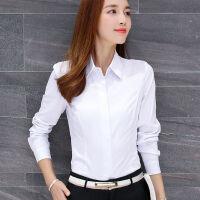 长袖衬衫女职业装秋冬季保暖加绒OL白衬衣打底寸衫大码修身工作服 XL (110-115)