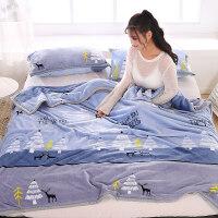 珊瑚绒毯子毛巾被子薄款春秋单人空调毯办公室午睡小毛毯