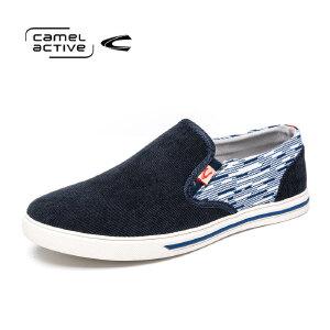 骆驼动感(camel active)春季男士简约韩版帆布鞋套脚休闲板鞋男布鞋