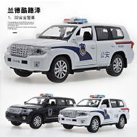 1:32丰田兰德酷路泽警车合金车汽车模型仿真儿童声光玩具车