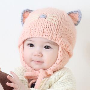 【支持礼品卡】Yinbeler手工卡通可爱猫咪系带婴儿毛线帽