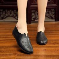 妈妈鞋夏季中老年皮鞋透气单鞋女大码女鞋软皮软底单皮鞋女