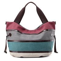 韩版休闲女士帆布包条纹复古女包撞色手提包大容量旅行单肩斜挎包