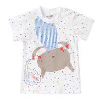 夏季宝宝纯棉短袖T恤女童装女宝半袖T恤婴儿儿童2018新款上衣背心 圆点小猫 90 100码数有肩扣