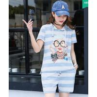 韩版清新时尚休闲运动服套装女条纹印花连帽短袖卫衣短裤两件套
