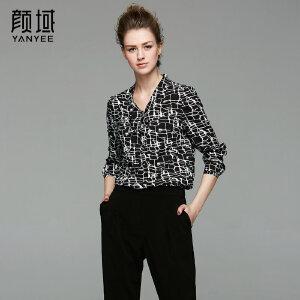 颜域品牌女装2017夏季新款复古纹理碎花长袖V领系带短款衬衫上衣