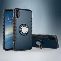 BaaN 苹果X手机壳创意支架指环车载防摔多功能保护套 藏青色