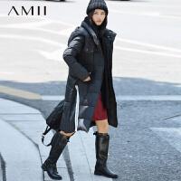 【满200减100 上不封顶】AMII[极简主义]冬百搭连帽中长拼色织带90绒羽绒服女装大码
