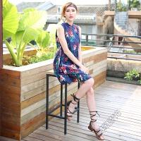夏季海边度假沙滩裙短裙套装复古印花短款旗袍连衣裙两件套女 蓝色