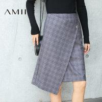 【AMII大牌日 2件4折】Amii[极简主义]秋新品时尚格纹不规则中长款半身裙女11693036