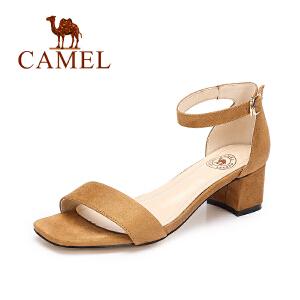 Camel/骆驼女鞋 2017夏季新款 时尚气质露趾高跟凉鞋一字扣粗跟绒面凉鞋