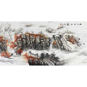 活画泰斗 国礼艺术家吴增   幽山金秋图   夜显观音