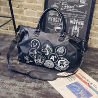 短途旅行包女男徽章涂鸦女包行李袋牛津纺包袋健身大容量手提包