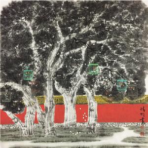 赵准旺《城外逗鸟》著名画家