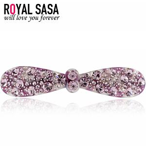 皇家莎莎RoyalSaSa头饰韩版时尚发卡弹簧夹人造水晶横夹流行发夹发饰-紫蝶魅影