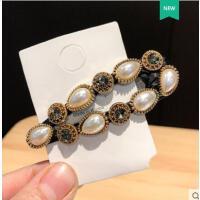 后脑勺bb夹重工镶钻珍珠侧边刘海夹头饰女韩国复古气质巴洛克发夹