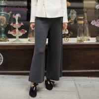 生活在左2018秋季新款复古时尚宽松藏肉垂感羊毛阔腿裤子长裤女