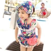新款女童连体裙式游泳衣 韩国可爱儿童碎花泳衣 中大童宝宝泳装泳帽