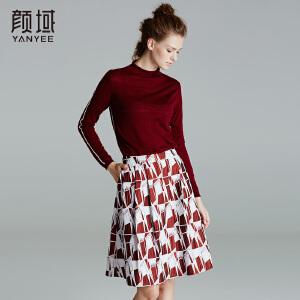 颜域品牌女装2017冬装新款欧美纯色立领修身套头长袖100%羊毛衫女
