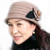女春秋冬季妈妈帽冬帽花朵礼帽保暖盆帽毛呢中老年人帽子