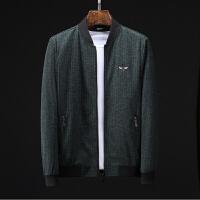 2018秋季薄款羊毛尼夹克条纹棒球领修身外套男士时尚商务休闲夹克