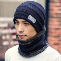 骑车帽男冬季保暖毛线帽护耳帽子围脖一体骑行针织帽