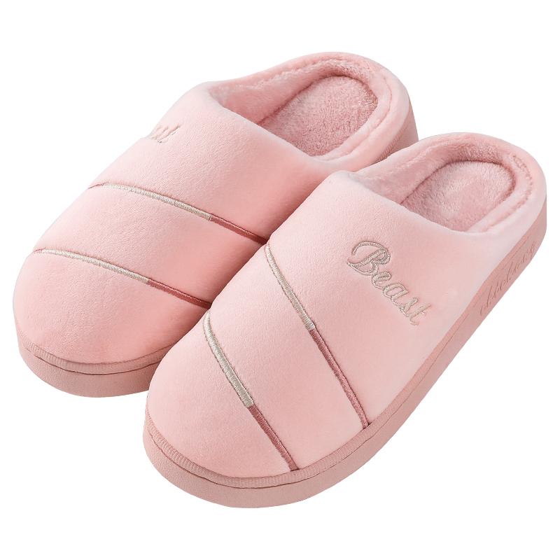 棉拖鞋新款情侣拖鞋男女款刺绣棉拖软底加厚居家防滑室内保暖棉拖鞋