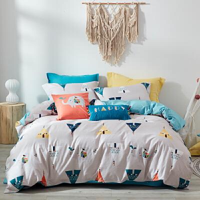 磨毛纯棉四件套全棉加厚秋冬被套床上用品床单三件套  1.8m (220X240cm) 双面加厚磨毛,阳光般的温暖