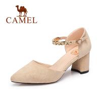 Camel/骆驼女鞋 秋季新款 气质尖头百搭高跟女鞋女神粗跟单鞋