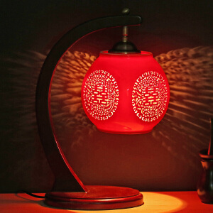 御目 台灯 陶瓷灯中国风复古红色创意卧室灯床头灯客厅灯结婚庆礼物中式复古灯满额减限时抢礼品卡创意灯具
