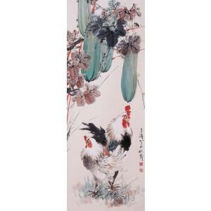 现代著名小写意花鸟画家 王雪涛《双吉》
