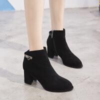 新款女靴尖头短靴女粗跟马丁靴欧美英伦新款绒面高跟踝靴裸靴 领跑996-8A黑色