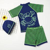 可爱舒适儿童泳衣 新款男童宝宝分体游泳衣 中大童可爱卡通婴儿游泳裤泳装带帽