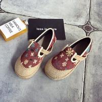 新款女学生涂鸦板鞋民族风手工编织布鞋泰国亚麻圆头学院风帆布鞋